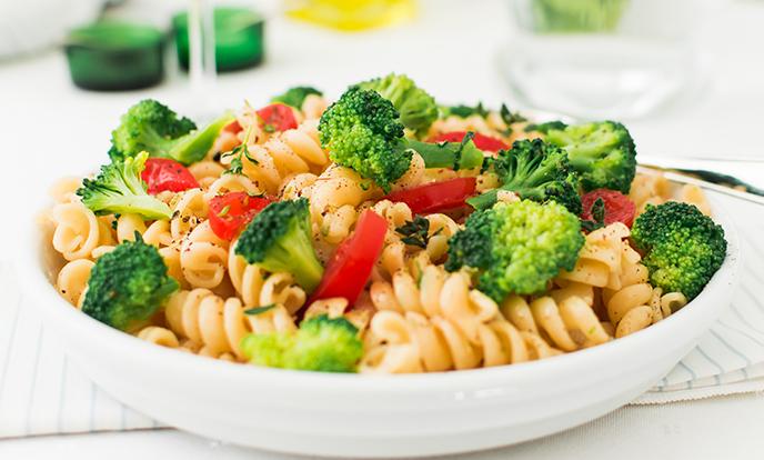 We're Hiring Log in Register White plate of fusilli pasta salad