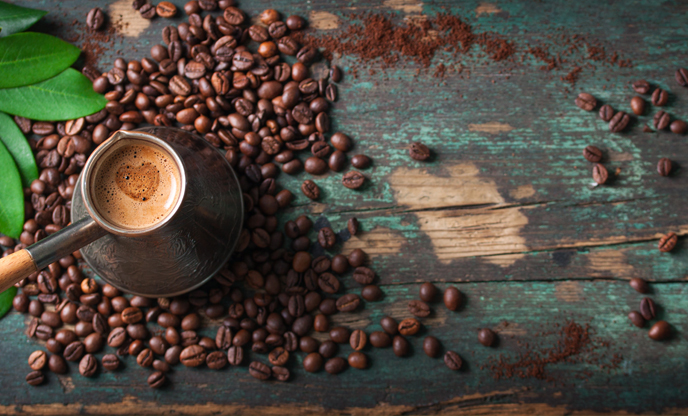 top-view-coffee-with-coffee-beans-caffeine