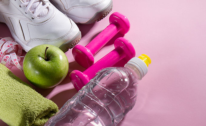 flat-lay-sport-concept-healthy-life-equipment-bright-pink-background-closeup-with-copy-space